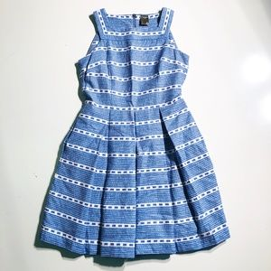 Taylor Blue and White Striped Sun Dress